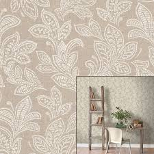crown calico leaf paisley hessian brown beige paste the wall