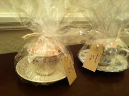 Ideas To Wrap A Gift - instead of wrapping a basket wrap vintage tea cups filled with