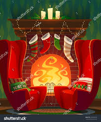 fireplace christmas card poster banner vector stock vector