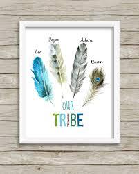 feather home decor boho tribal print personalized u0027our tribe u0027 wall art