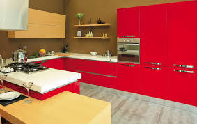 charming gloss red kitchen cabinets with unique breakfast table