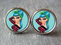 rockabilly earrings rockabilly jewelry fresh fruit cherry earrings day of the dead