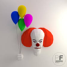 pennywise stephen king it origami 3d evil clown papercraft