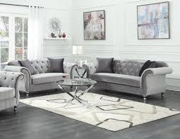 henrietta silver sofa u0026 loveseat with gold studs u2014 coco furniture