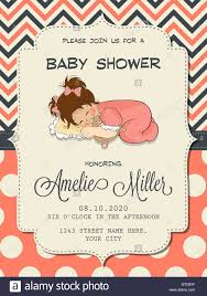 beautiful baby shower card with cute little vector