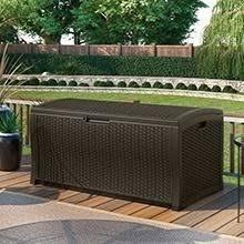amazon com suncast ssw900 wicker deck box 22 gallon garden