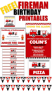 firetruck themed birthday party free printables nest