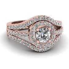 Rose Gold Wedding Rings by Rose Gold Round White Diamond Engagement Wedding Ring In Pave Set