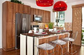 brown wooden kitchen cabinet refrigerator and microwave brown brown wooden kitchen cabinet refrigerator and microwave brown wooden floor with siver iron bar stool white wooden bar table white wall and brown wooden door