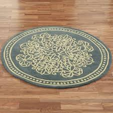 Round Traditional Rugs Traditional Round Area Rugs Blue Scroll Rug Wool Material Rug Rug