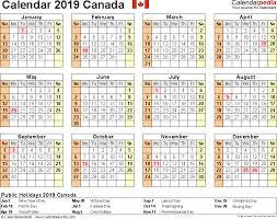 canada calendar 2019 free printable pdf templates