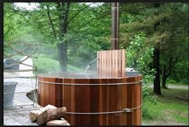 Chofu Wood Stove by Japanese Cedar Wood Burning Tub Chapman Back Yard