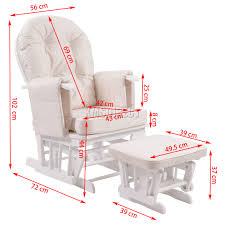 Rocking Chair Tab Foxhunter Nursing Glider Maternity Rocking Chair With Stool White