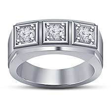 men rings platinum images Fashion jewels white platinum plated sterling silver mens 3 stone jpg