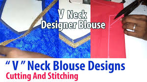 blouse back neck designs cutting and stitching v neck stitching