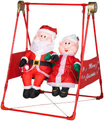 Mrs Claus Animated Christmas Decorations by Animated Porch Swing W Santa U0026 Mrs Claus Airblown Inflatable