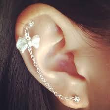 earring helix jewels earrings bow white jewelry piercing helix piercing