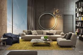living room wood frame sofa and white wall paneling for living
