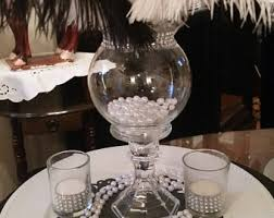 diy charming ostrich feather centerpiece with crystal garland