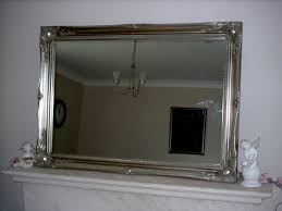 extra large silver antique style wall mirror size 42 x 30