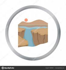 grand canyon icon in cartoon style isolated on white background