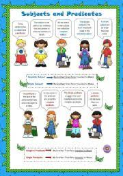 worksheet subjects and predicates