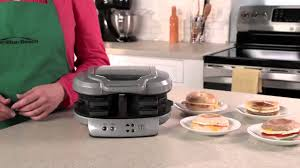 Breakfast Sandwich Toaster Hamilton Beach Dual Breakfast Sandwich Maker 25490 Youtube