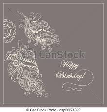 vector illustration of boho card happy birthday hand drawn
