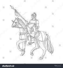 knight armor on horse medieval knight stock vector 505229449