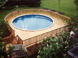 narrow wooden above ground swimming pool eye catching and