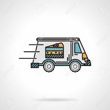 single delivery single flat color design vector icon for dessert delivery