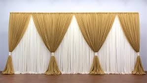 20 Ft Curtains 10ft 20ft Gold With White Clear Style Wedding Backdrop Stage
