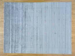Hand Loomed Rug 9 U0027 X 12 U0027 Hand Loomed Silver Wool And Silk Modern Gabbeh Rug