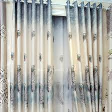 Insulated Thermal Curtains Peacock Feather Pattern Polyester Insulated Thermal Curtains