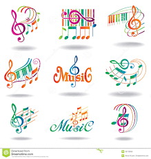colorful music notes set of music design elements stock photo