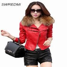 leather jacket women 2016 spring real fur collar leather clothing