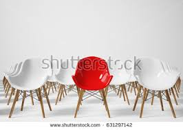 front view rows white chairs standing stock illustration 631297142