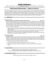 facility maintenance supervisor resume examples fresh maintenance