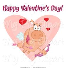 vector swine clipart of a happy valentine u0027s day text over a cupid