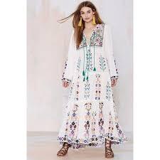 chic dress embroidered sleeve vintage hippie boho chic santorini dress