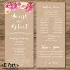 programs for a wedding ceremony rustic wedding program ceremony program printable files