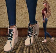 Brown Fringe Ankle Boots Second Life Marketplace Cgg Fringed Ankle Boots In Creme With