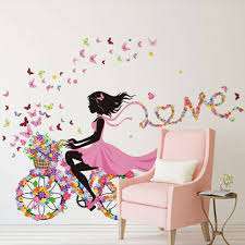 Home Decoration Wall Stickers Diy Wall Sticker Kids Room Decoration Butterfly Princess Bike