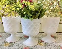 Pedestal Bowls For Centerpieces Milk Glass Bowl Milk Glass Vase Candy Dish White Bowls Wedding