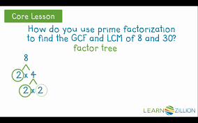 find the gcf and lcm using prime factorization learnzillion