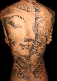 tattoo back face buddha face tattoo on back
