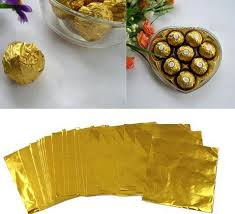 cheapest wrapping paper 20 20cm gold aluminium foil wrapper paper wedding chocolate paper