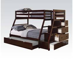 Bunk Bed With Trundle Acme Furniture Jason Espresso Storage Ladder And Trundle Bunk Bed