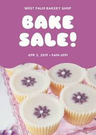 purple cupcake photo bake sale flyer templates by canva