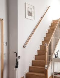 chrome banister rails wall handrail axxys box set pine with chrome brackets rbopc axxys